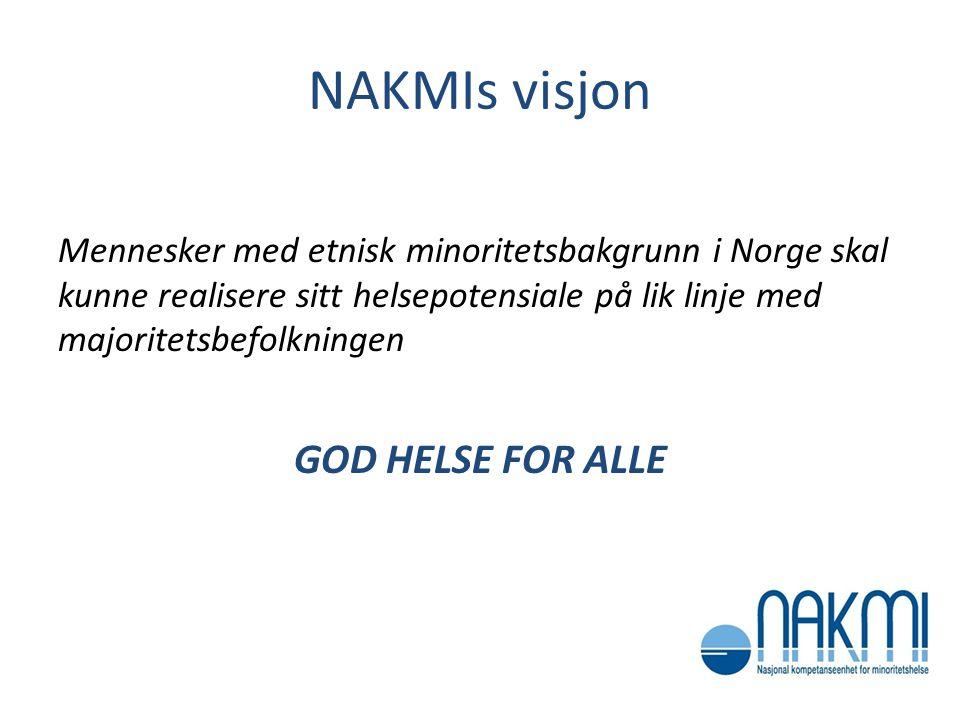 NAKMIs visjon Mennesker med etnisk minoritetsbakgrunn i Norge skal kunne realisere sitt helsepotensiale på lik linje med majoritetsbefolkningen GOD HE