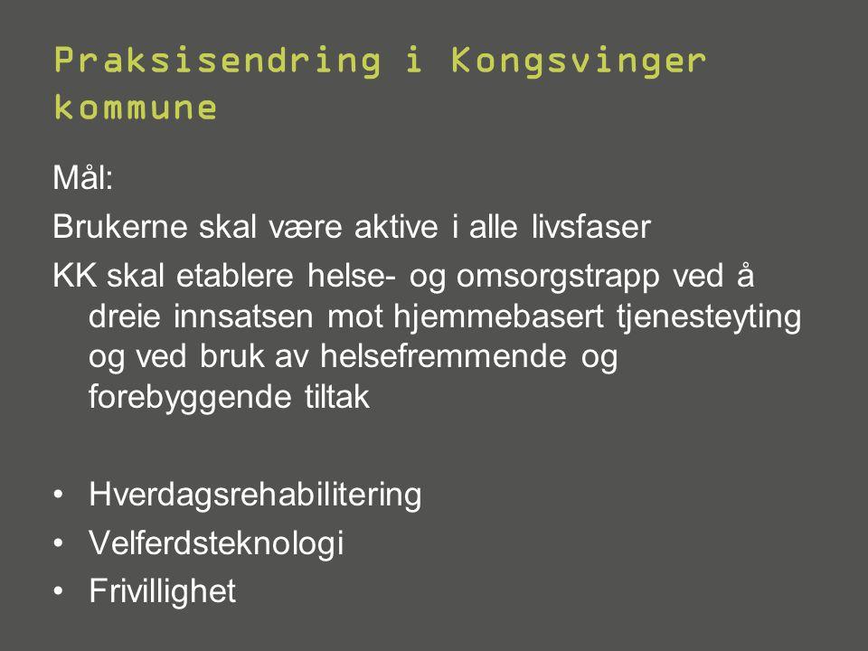 Praksisendring i Kongsvinger kommune Mål: Brukerne skal være aktive i alle livsfaser KK skal etablere helse- og omsorgstrapp ved å dreie innsatsen mot