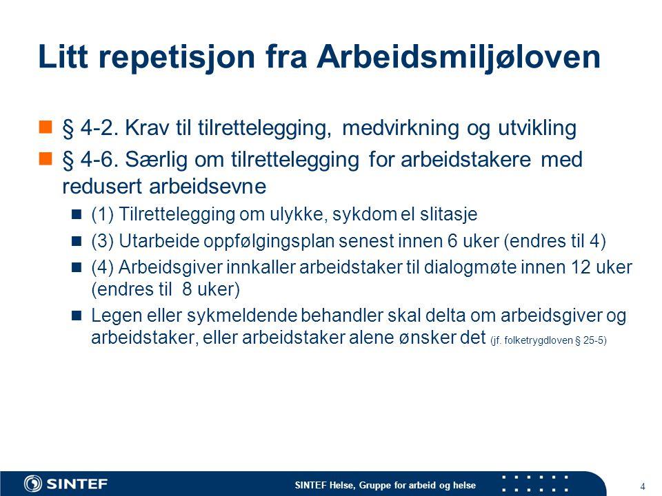 SINTEF Helse, Gruppe for arbeid og helse Litt repetisjon fra Arbeidsmiljøloven  § 4-2. Krav til tilrettelegging, medvirkning og utvikling  § 4-6. Sæ
