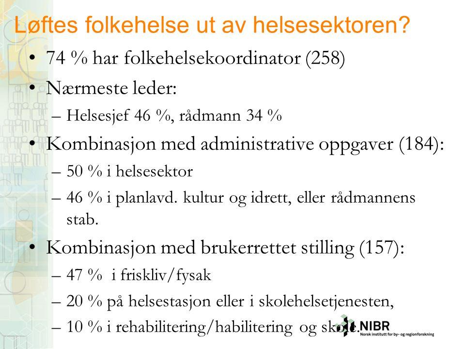 Løftes folkehelse ut av helsesektoren? •74 % har folkehelsekoordinator (258) •Nærmeste leder: –Helsesjef 46 %, rådmann 34 % •Kombinasjon med administr