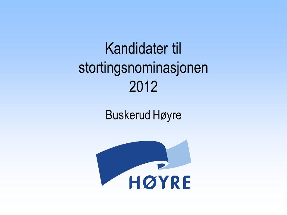 Kandidater til stortingsnominasjonen 2012 Buskerud Høyre