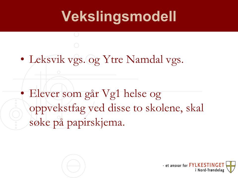 Vekslingsmodell •Leksvik vgs. og Ytre Namdal vgs.