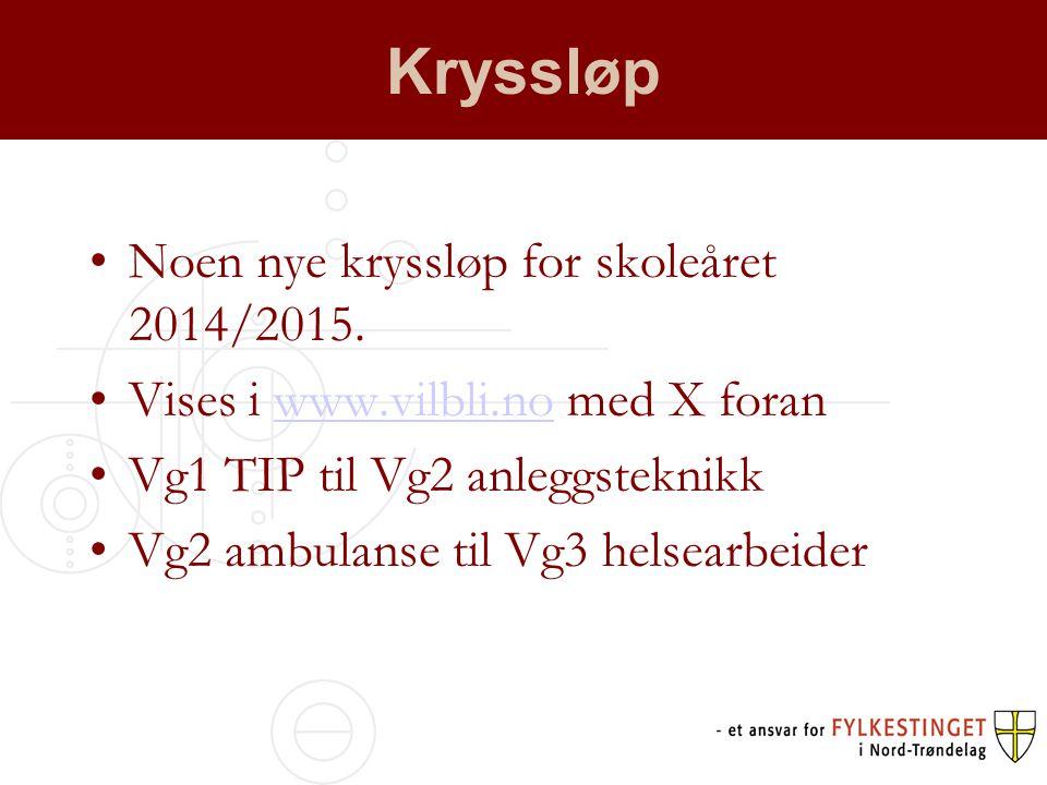 Kryssløp •Noen nye kryssløp for skoleåret 2014/2015.