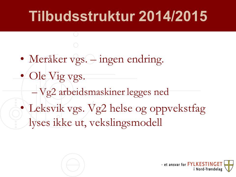 Tilbudsstruktur 2014/2015 •Meråker vgs. – ingen endring.