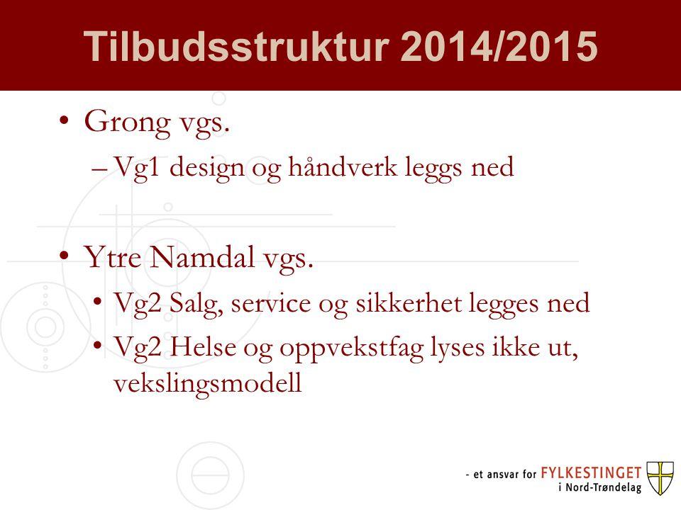 Tilbudsstruktur 2014/2015 •Grong vgs. –Vg1 design og håndverk leggs ned • Ytre Namdal vgs.
