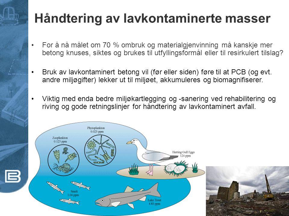 Håndtering av lavkontaminerte masser •For å nå målet om 70 % ombruk og materialgjenvinning må kanskje mer betong knuses, siktes og brukes til utfyllin