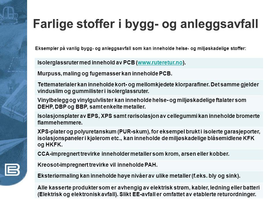 Utfasing av miljøgifter i bygg tar tid Kilde: Bergsdal. 2009