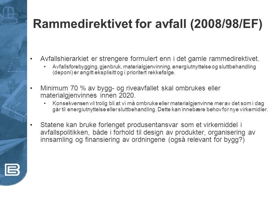 Rammedirektivet for avfall (2008/98/EF) • Avfallshierarkiet er strengere formulert enn i det gamle rammedirektivet. • Avfallsforebygging, gjenbruk, ma