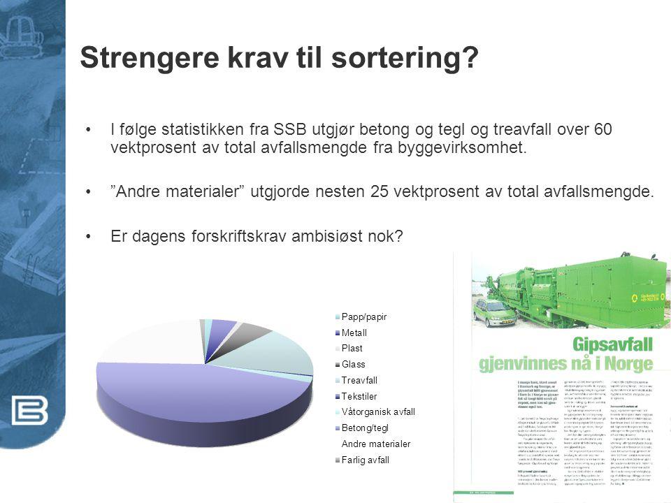Strengere krav til sortering? •I følge statistikken fra SSB utgjør betong og tegl og treavfall over 60 vektprosent av total avfallsmengde fra byggevir