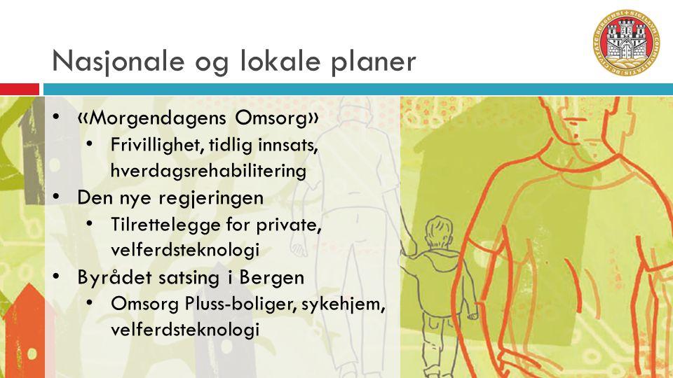 Nasjonale og lokale planer • «Morgendagens Omsorg» • Frivillighet, tidlig innsats, hverdagsrehabilitering • Den nye regjeringen • Tilrettelegge for pr