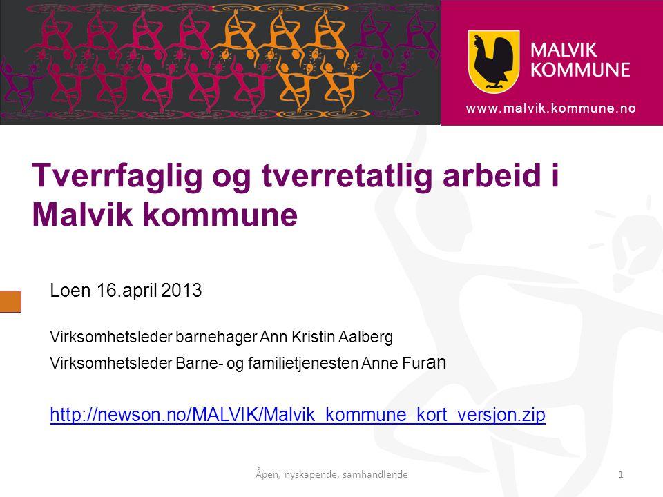 www.malvik.kommune.no Tverrfaglig og tverretatlig arbeid i Malvik kommune Loen 16.april 2013 Virksomhetsleder barnehager Ann Kristin Aalberg Virksomhe