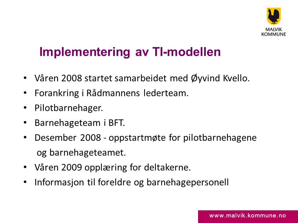 www.malvik.kommune.no Implementering av TI-modellen • Våren 2008 startet samarbeidet med Øyvind Kvello. • Forankring i Rådmannens lederteam. • Pilotba