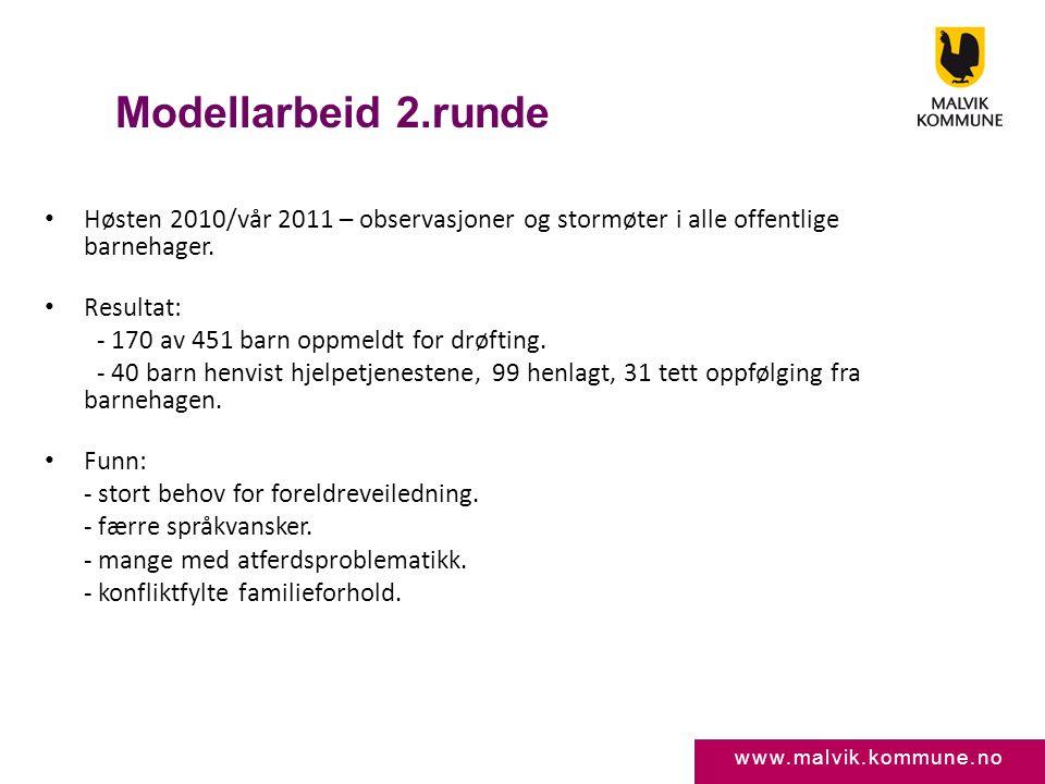www.malvik.kommune.no Modellarbeid 2.runde • Høsten 2010/vår 2011 – observasjoner og stormøter i alle offentlige barnehager. • Resultat: - 170 av 451