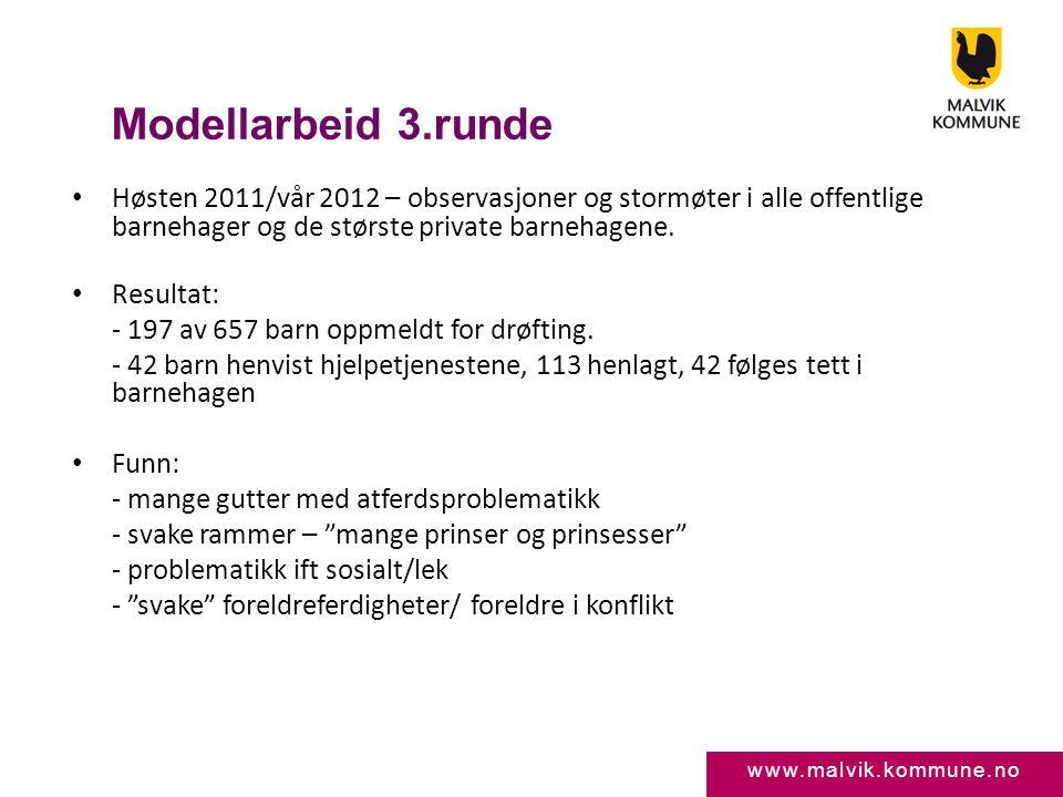 www.malvik.kommune.no Modellarbeid 3.runde • Høsten 2011/vår 2012 – observasjoner og stormøter i alle offentlige barnehager og de største private barn