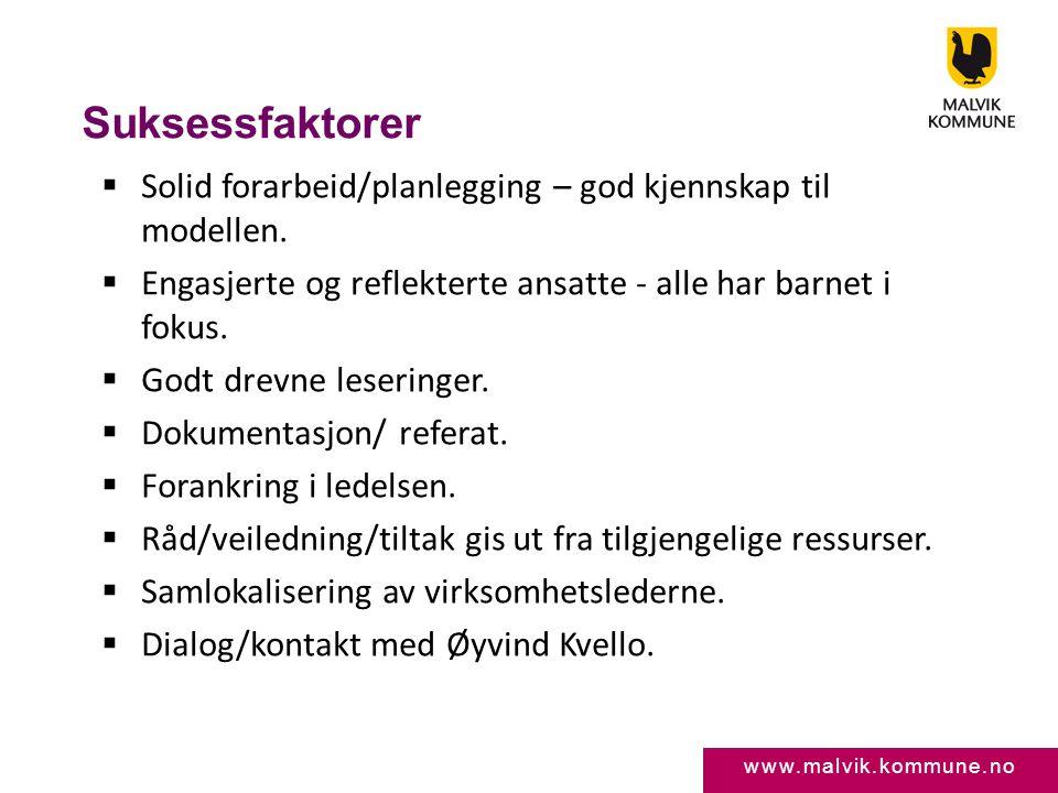 www.malvik.kommune.no Suksessfaktorer  Solid forarbeid/planlegging – god kjennskap til modellen.  Engasjerte og reflekterte ansatte - alle har barne
