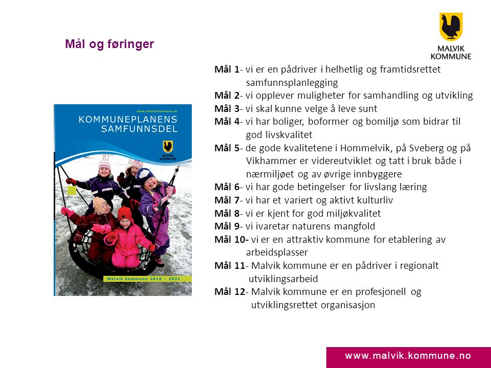 www.malvik.kommune.no Mål og føringer Mål 1- vi er en pådriver i helhetlig og framtidsrettet samfunnsplanlegging Mål 2- vi opplever muligheter for sam