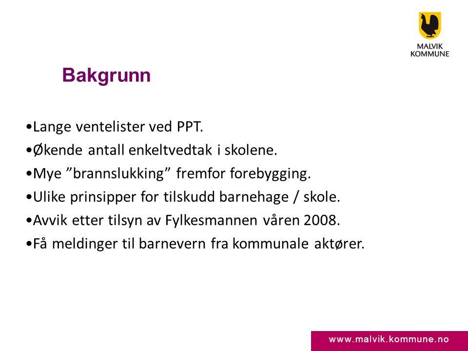 """www.malvik.kommune.no Bakgrunn •Lange ventelister ved PPT. •Økende antall enkeltvedtak i skolene. •Mye """"brannslukking"""" fremfor forebygging. •Ulike pri"""