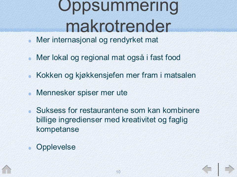 Oppsummering makrotrender Mer internasjonal og rendyrket mat Mer lokal og regional mat også i fast food Kokken og kjøkkensjefen mer fram i matsalen Me