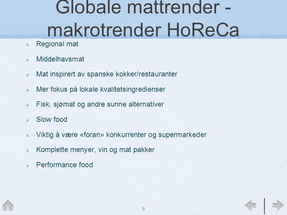 Globale mattrender - makrotrender HoReCa Regional mat Middelhavsmat Mat inspirert av spanske kokker/restauranter Mer fokus på lokale kvalitetsingredie