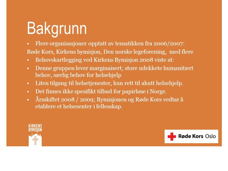 Bakgrunn •Flere organisasjoner opptatt av tematikken fra 2006/2007: Røde Kors, Kirkens bymisjon, Den norske legeforening, med flere •Behovskartlegging