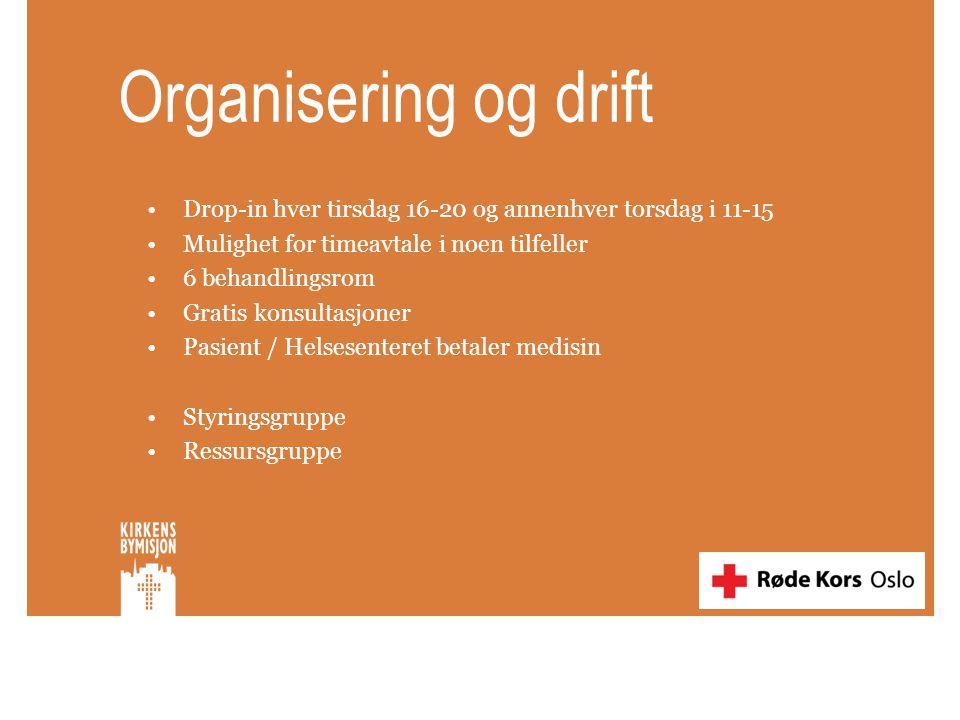 Organisering og drift •Drop-in hver tirsdag 16-20 og annenhver torsdag i 11-15 •Mulighet for timeavtale i noen tilfeller •6 behandlingsrom •Gratis kon