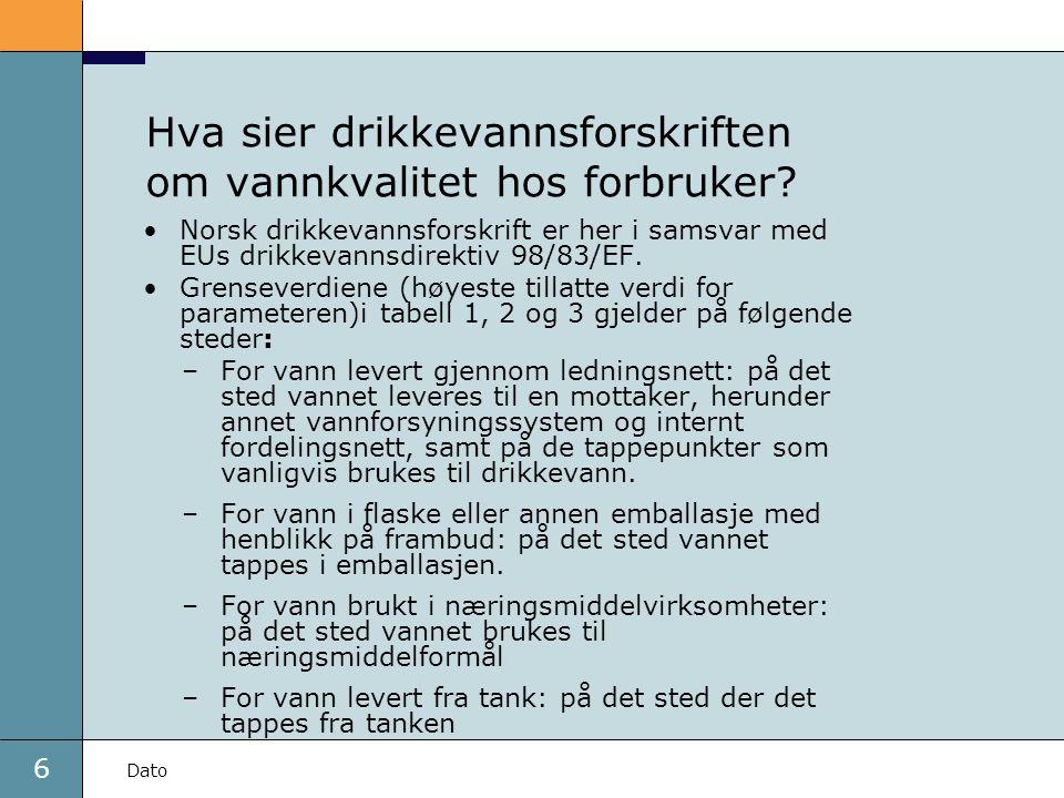 6 Dato Hva sier drikkevannsforskriften om vannkvalitet hos forbruker? •Norsk drikkevannsforskrift er her i samsvar med EUs drikkevannsdirektiv 98/83/E