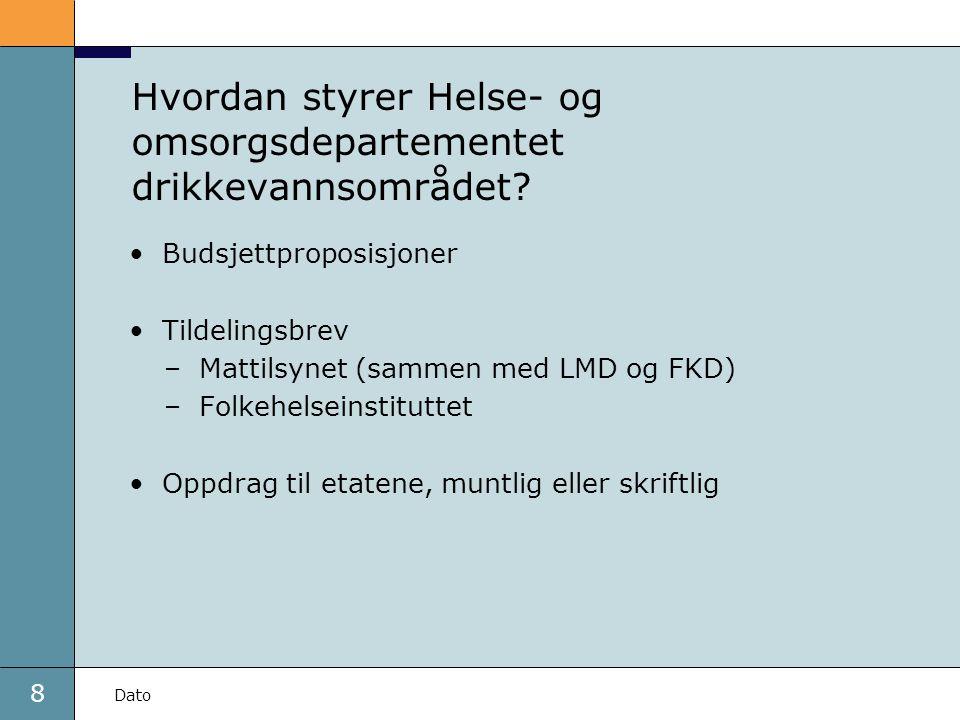 8 Dato Hvordan styrer Helse- og omsorgsdepartementet drikkevannsområdet? •Budsjettproposisjoner •Tildelingsbrev –Mattilsynet (sammen med LMD og FKD) –