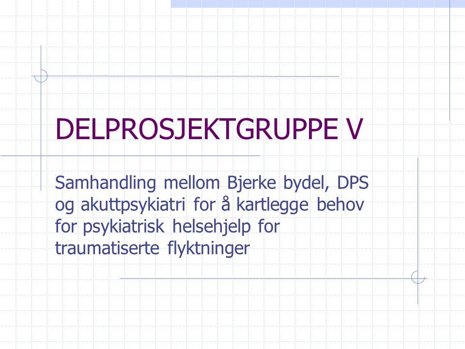 DELPROSJEKTGRUPPE V Samhandling mellom Bjerke bydel, DPS og akuttpsykiatri for å kartlegge behov for psykiatrisk helsehjelp for traumatiserte flyktnin