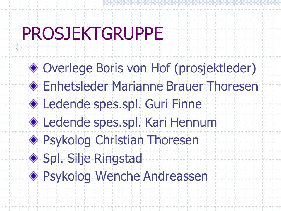 PROSJEKTGRUPPE Overlege Boris von Hof (prosjektleder) Enhetsleder Marianne Brauer Thoresen Ledende spes.spl. Guri Finne Ledende spes.spl. Kari Hennum