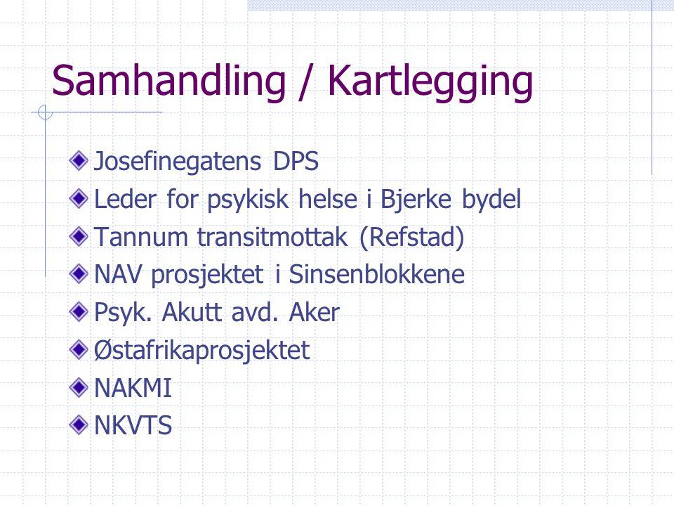 Samhandling / Kartlegging Josefinegatens DPS Leder for psykisk helse i Bjerke bydel Tannum transitmottak (Refstad) NAV prosjektet i Sinsenblokkene Psy
