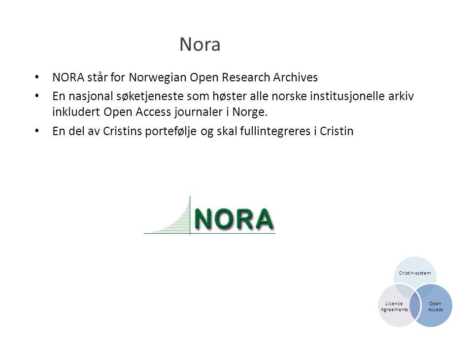 Nora • NORA står for Norwegian Open Research Archives • En nasjonal søketjeneste som høster alle norske institusjonelle arkiv inkludert Open Access journaler i Norge.