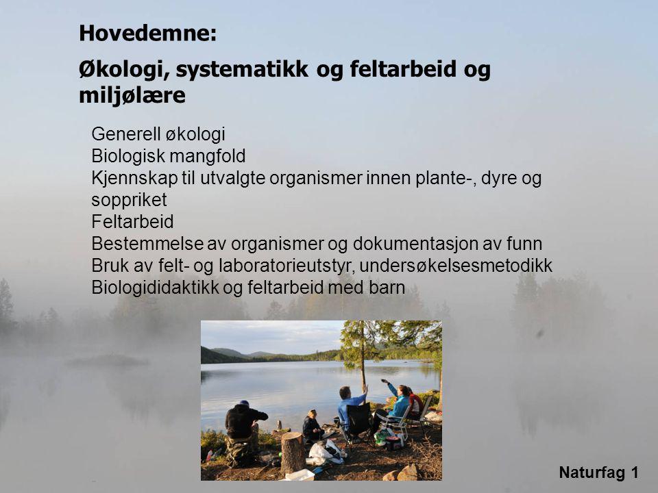 Naturfag 1 Økologi, systematikk og feltarbeid og miljølære Generell økologi Biologisk mangfold Kjennskap til utvalgte organismer innen plante-, dyre o