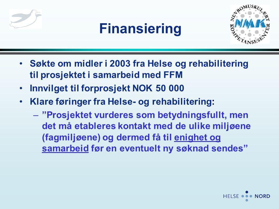 Finansiering •Søkte om midler i 2003 fra Helse og rehabilitering til prosjektet i samarbeid med FFM •Innvilget til forprosjekt NOK 50 000 •Klare førin