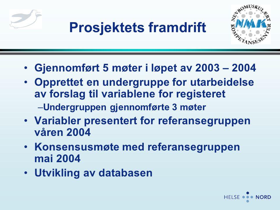 Prosjektets framdrift •Gjennomført 5 møter i løpet av 2003 – 2004 •Opprettet en undergruppe for utarbeidelse av forslag til variablene for registeret