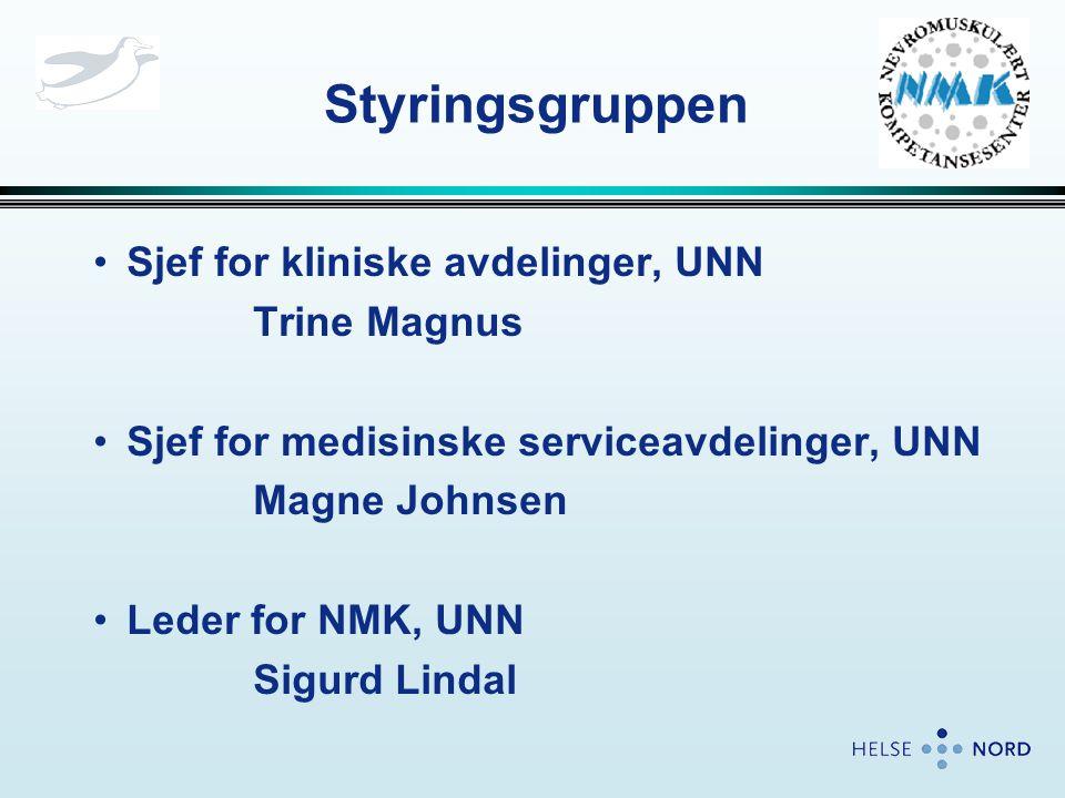 Styringsgruppen •Sjef for kliniske avdelinger, UNN Trine Magnus •Sjef for medisinske serviceavdelinger, UNN Magne Johnsen •Leder for NMK, UNN Sigurd L