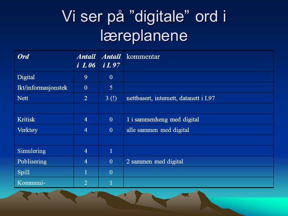 Vi ser på digitale ord i læreplanene nettbasert, internett, datanett i L97 2 sammen med digital 12Kommuni- 01Spill 04Publisering 14Simulering alle sammen med digital 1 i sammenheng med digital 04Verktøy 04Kritisk 3 (!)2Nett 50Ikt/informasjonstek 09Digital kommentarAntall i L 97 Antall i L 06 Ord Det benyttes stadig nye honørord om den digitale dimensjonen Innføring av de digitale verktøy krever at vi lærer å være kritisk Dette er noe av det nye som det digitale tilfører naturfaget tolkning