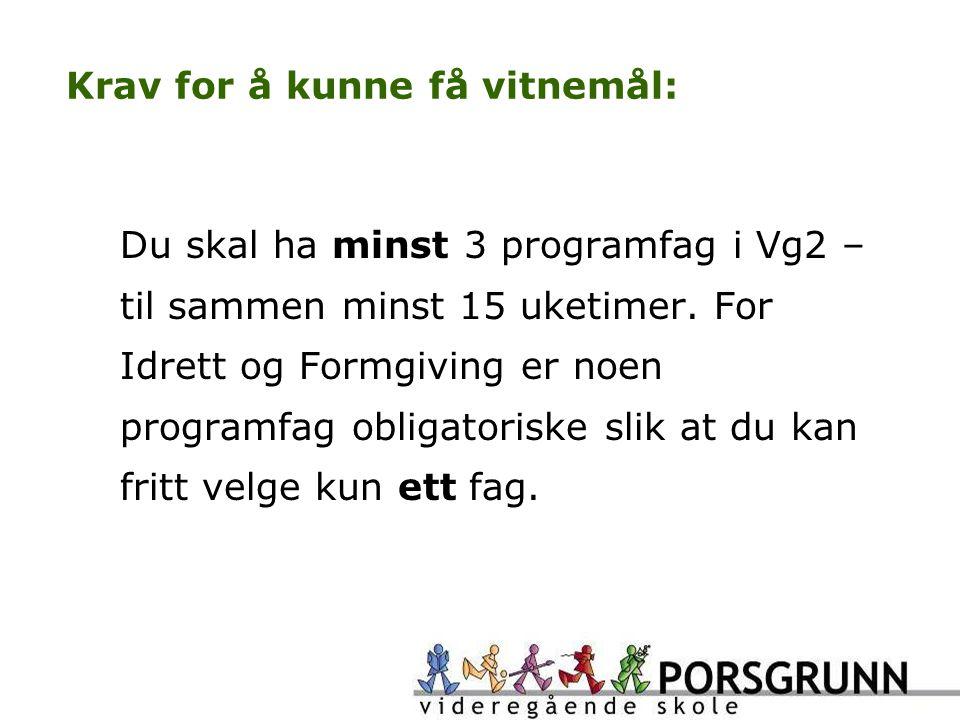 Krav for å kunne få vitnemål: Du skal ha minst 3 programfag i Vg2 – til sammen minst 15 uketimer.