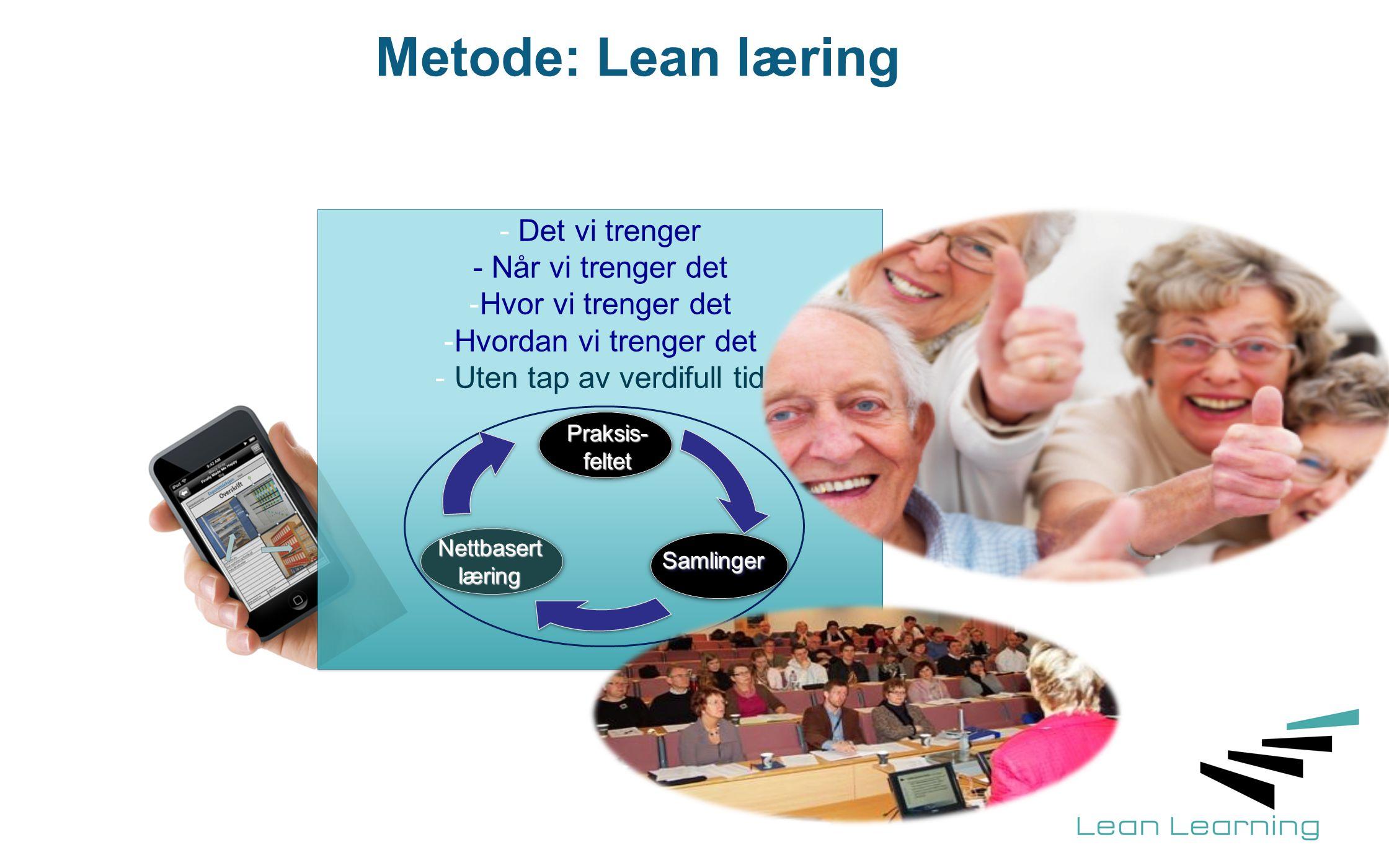 Metode: Lean læring - Det vi trenger - Når vi trenger det -Hvor vi trenger det -Hvordan vi trenger det - Uten tap av verdifull tid Praksis-feltet Saml