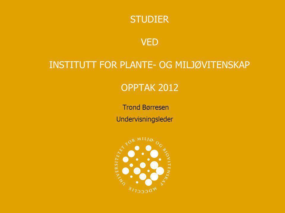STUDIER VED INSTITUTT FOR PLANTE- OG MILJØVITENSKAP OPPTAK 2012 Trond Børresen Undervisningsleder