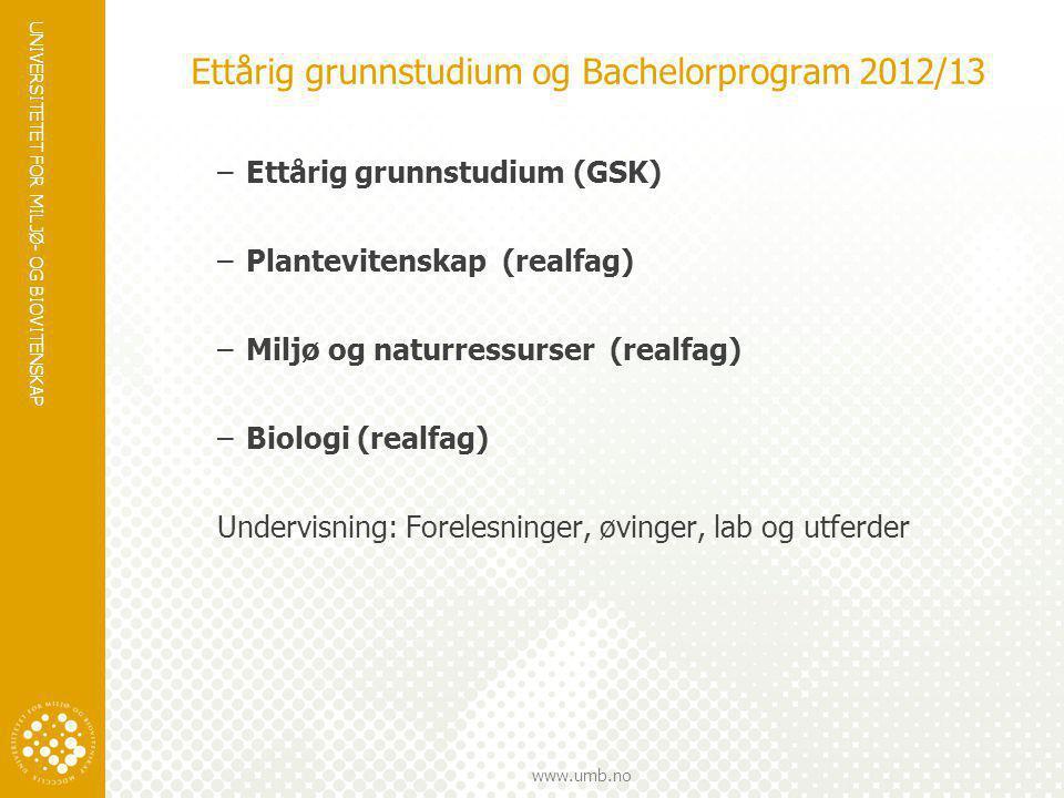 UNIVERSITETET FOR MILJØ- OG BIOVITENSKAP www.umb.no Ettårig grunnstudium og Bachelorprogram 2012/13 –Ettårig grunnstudium (GSK) –Plantevitenskap (real