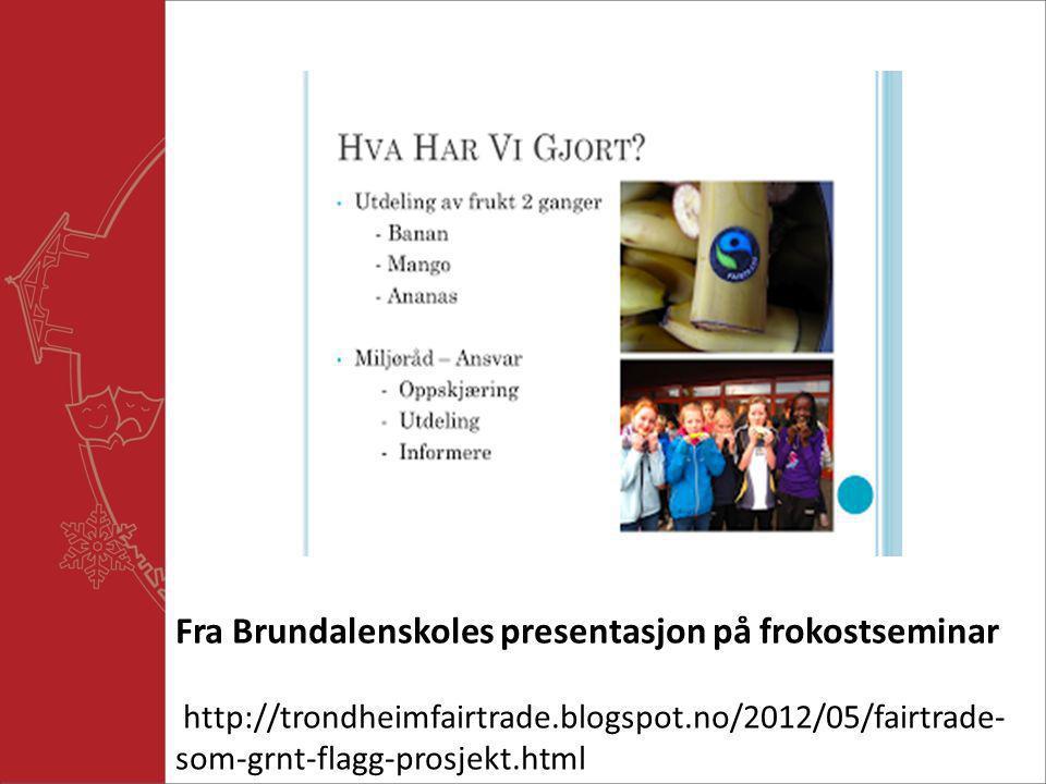 Fra Brundalenskoles presentasjon på frokostseminar http://trondheimfairtrade.blogspot.no/2012/05/fairtrade- som-grnt-flagg-prosjekt.html