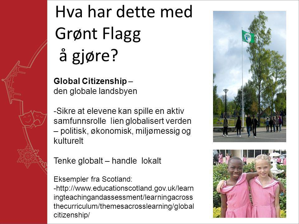 Hva har dette med Grønt Flagg å gjøre? Global Citizenship – den globale landsbyen -Sikre at elevene kan spille en aktiv samfunnsrolle Iien globalisert