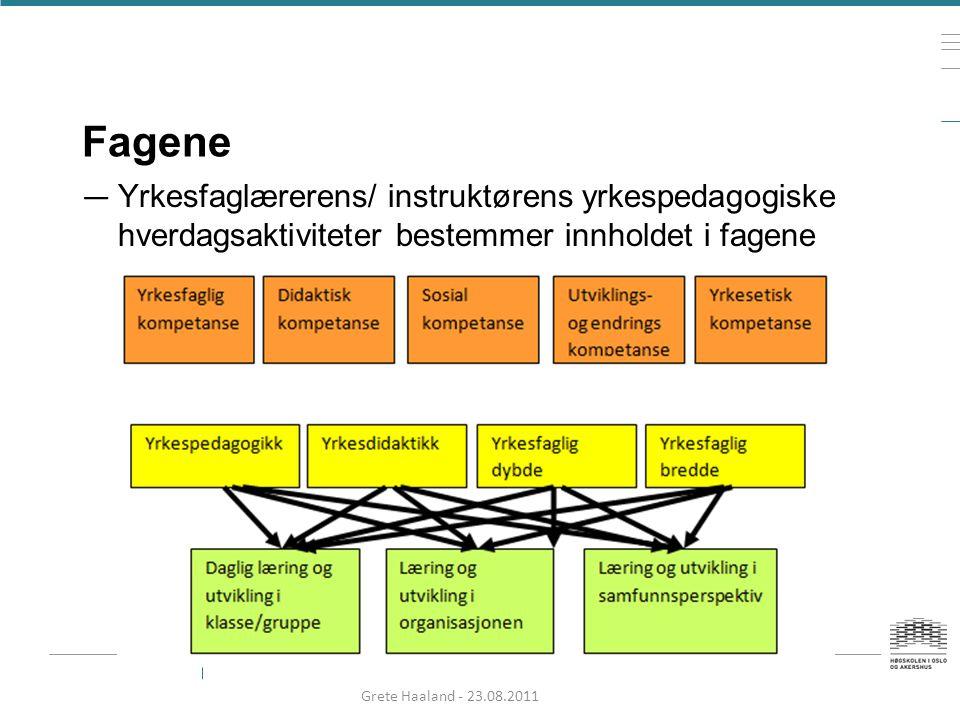 Fagene — Yrkesfaglærerens/ instruktørens yrkespedagogiske hverdagsaktiviteter bestemmer innholdet i fagene Grete Haaland - 23.08.2011