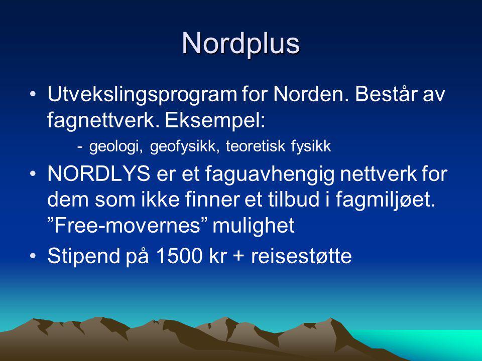 Nordplus •Utvekslingsprogram for Norden. Består av fagnettverk. Eksempel: -geologi, geofysikk, teoretisk fysikk •NORDLYS er et faguavhengig nettverk f
