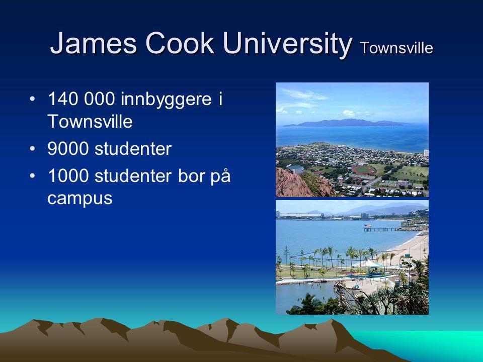 James Cook University Townsville •140 000 innbyggere i Townsville •9000 studenter •1000 studenter bor på campus