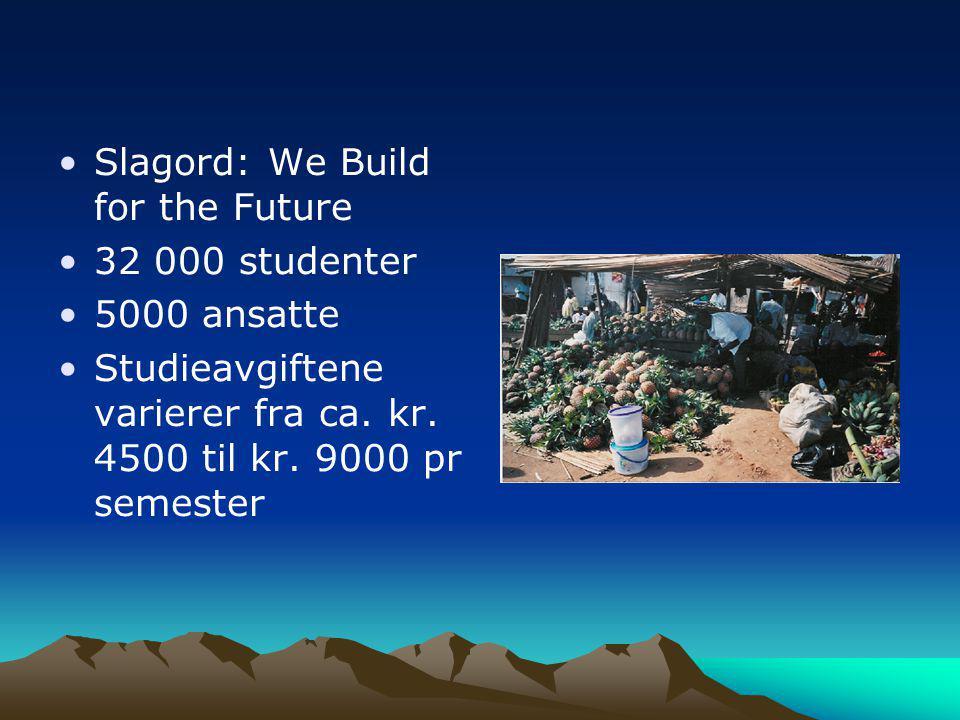 •Slagord: We Build for the Future •32 000 studenter •5000 ansatte •Studieavgiftene varierer fra ca. kr. 4500 til kr. 9000 pr semester