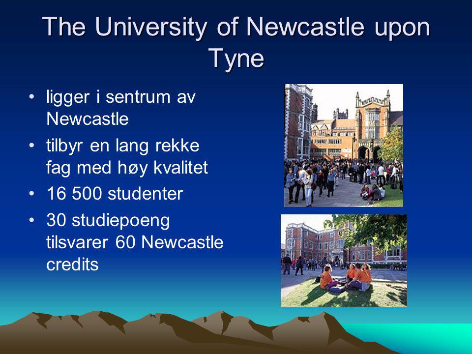 The University of Newcastle upon Tyne •ligger i sentrum av Newcastle •tilbyr en lang rekke fag med høy kvalitet •16 500 studenter •30 studiepoeng tils