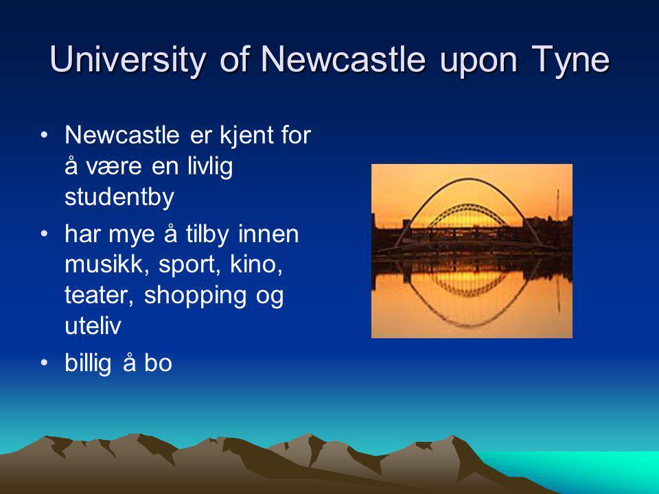 University of Newcastle upon Tyne •Newcastle er kjent for å være en livlig studentby •har mye å tilby innen musikk, sport, kino, teater, shopping og u