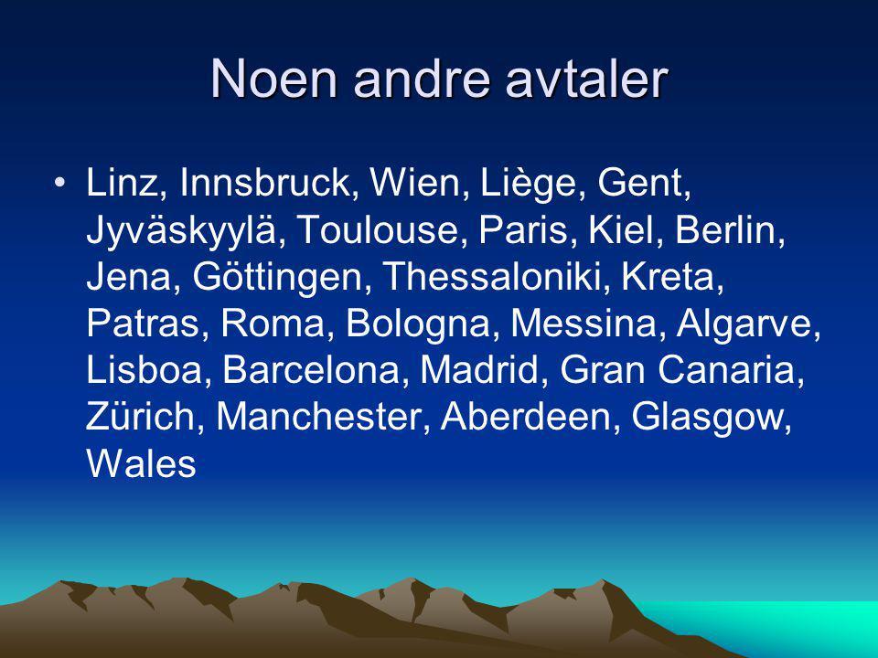 Noen andre avtaler •Linz, Innsbruck, Wien, Liège, Gent, Jyväskyylä, Toulouse, Paris, Kiel, Berlin, Jena, Göttingen, Thessaloniki, Kreta, Patras, Roma,