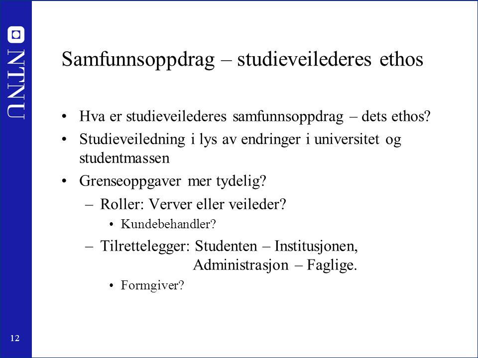 12 Samfunnsoppdrag – studieveilederes ethos •Hva er studieveilederes samfunnsoppdrag – dets ethos.